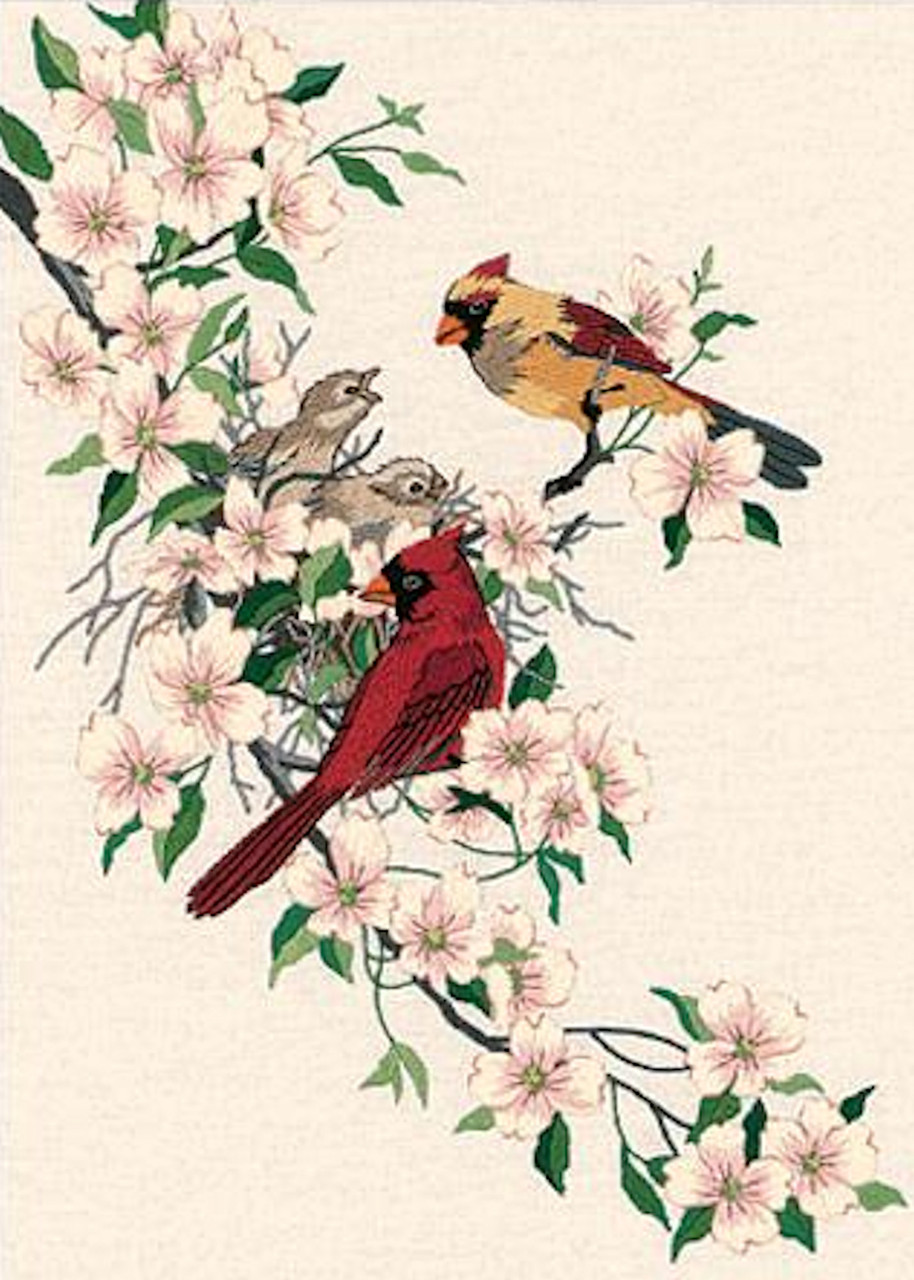 "Dimensions Cardinals In Dogwood Crewel Kit-11/""X15/"" Stitched In Wool /& Thread"