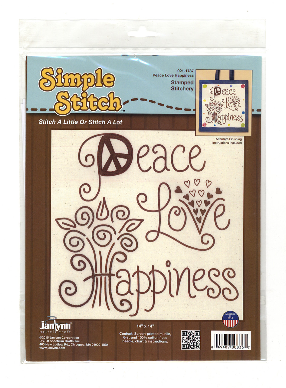 """Janlynn """"Simple Stitch"""" - Peace, Love, Happiness"""