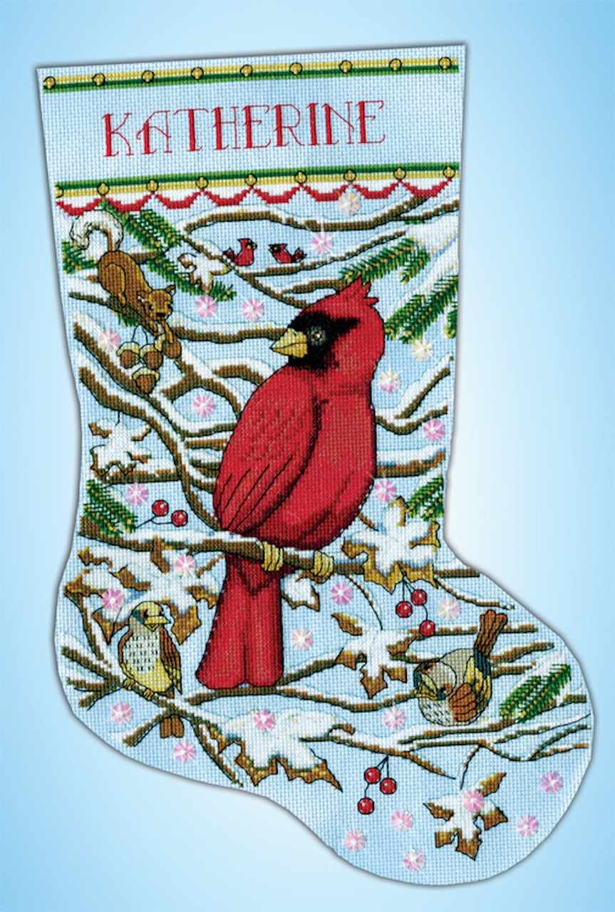 Design Works Cardinal Christmas Stocking Crossstitchworld