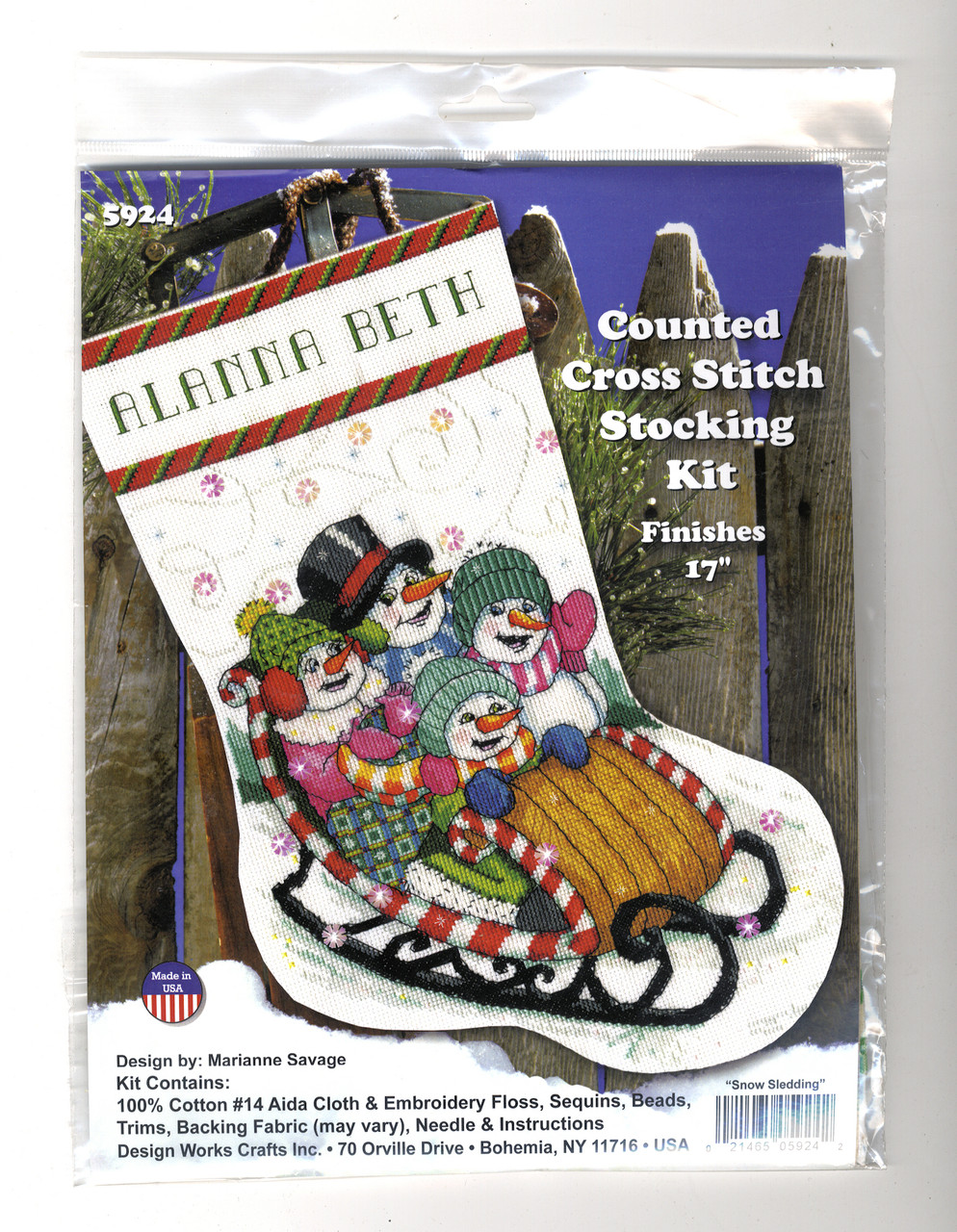Design Works - Snow Sledding Christmas Stocking