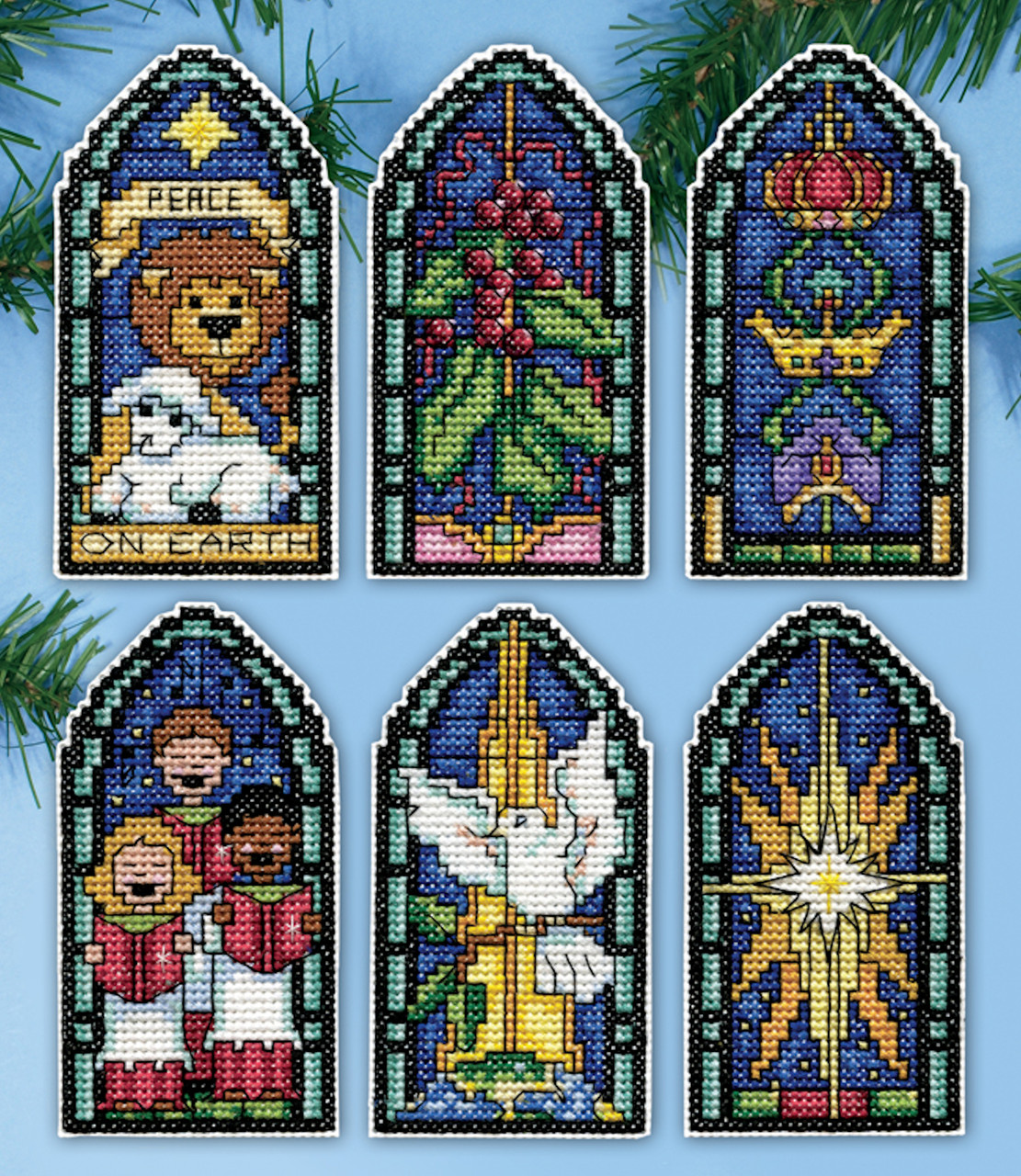 Design Works Peace On Earth Stained Glass Christmas Ornaments