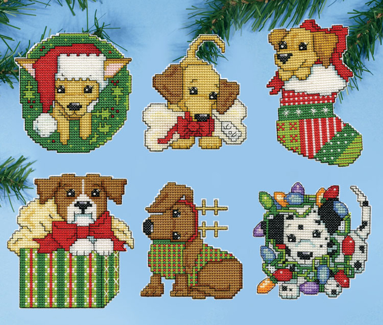 Christmas Puppies.Design Works Christmas Puppies Ornaments