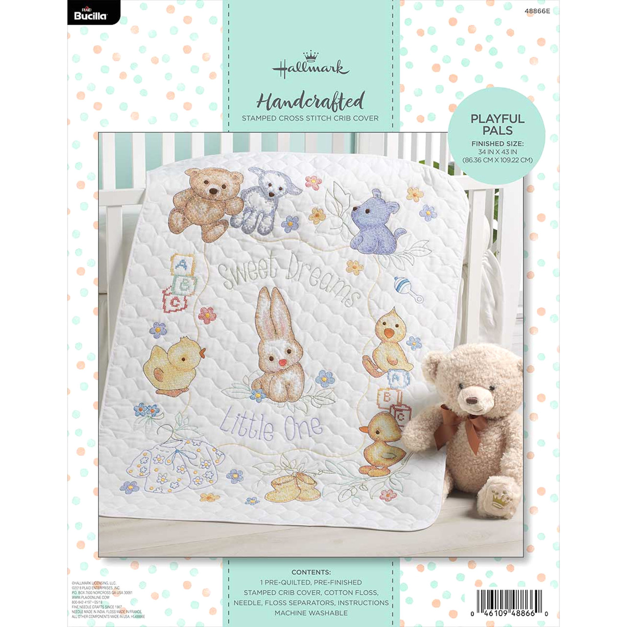 Plaid / Bucilla - Playful Pals Crib Cover