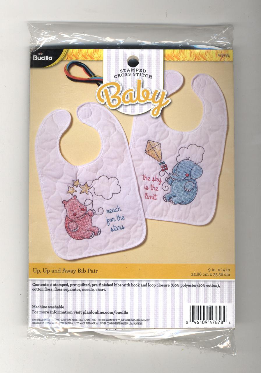 Bucilla 47725 Stamped Quilted XStitch Bibs Dino Baby