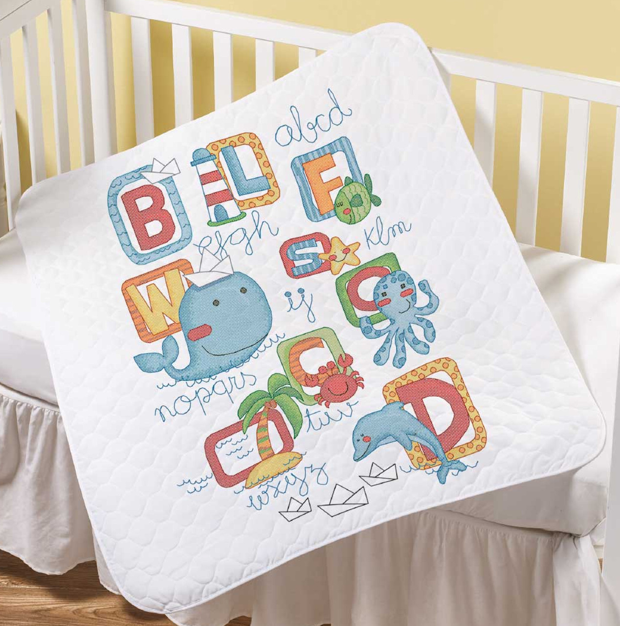 Plaid / Bucilla - Sea Life Crib Cover