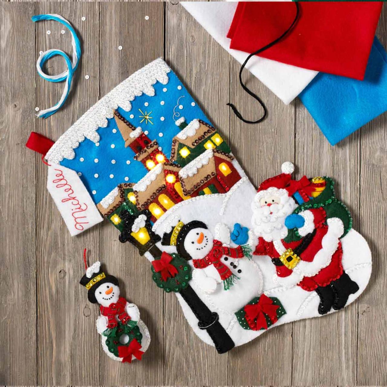 Plaid / Bucilla - Christmas Village Stocking w/Lights