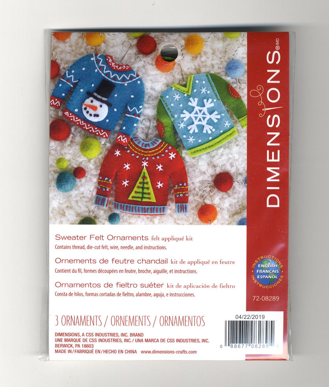 """Dimensions Felt Ornaments Applique Kit Up to 5/"""" Set Of 3-Holiday Homes"""