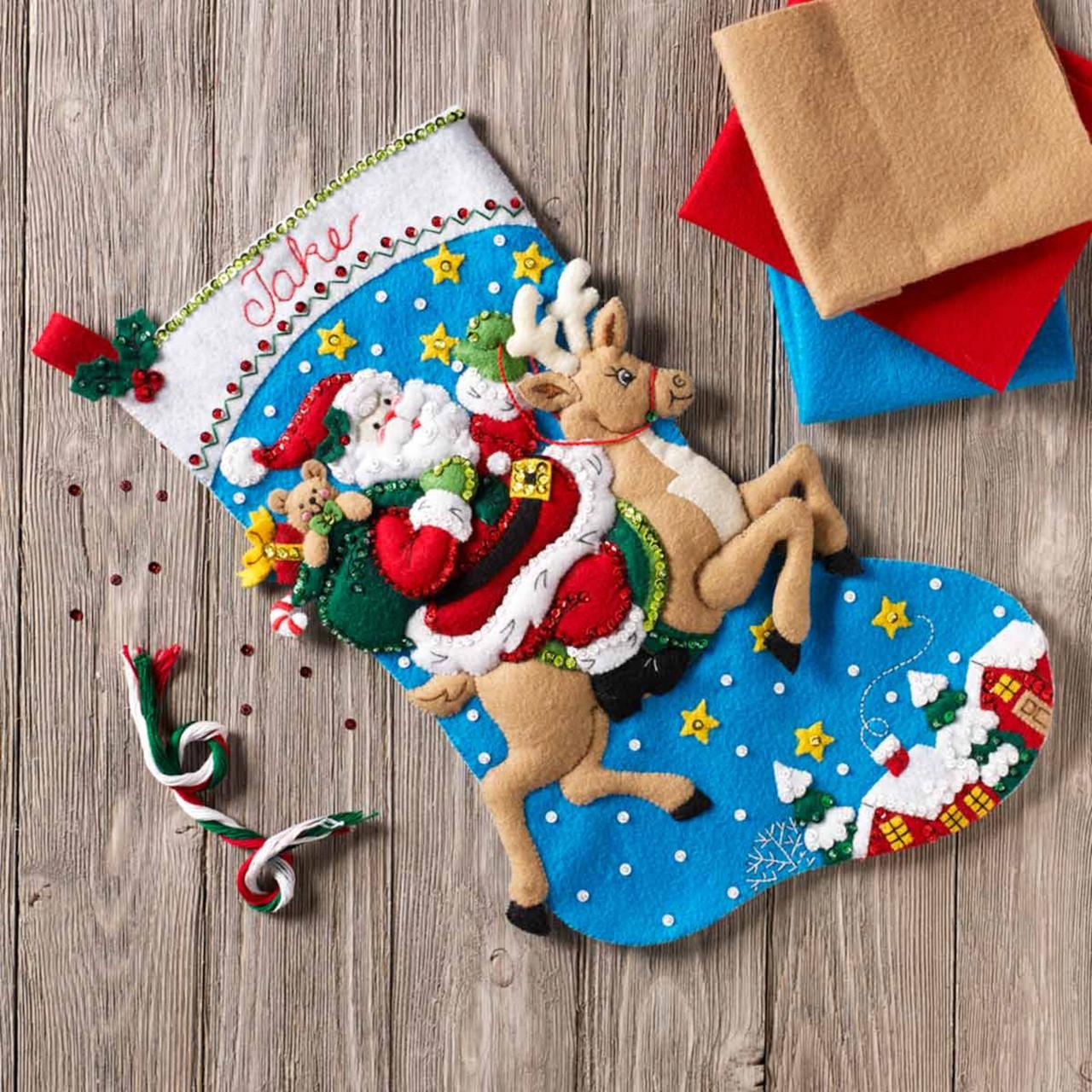 Plaid / Bucilla -  Reindeer Santa Stocking