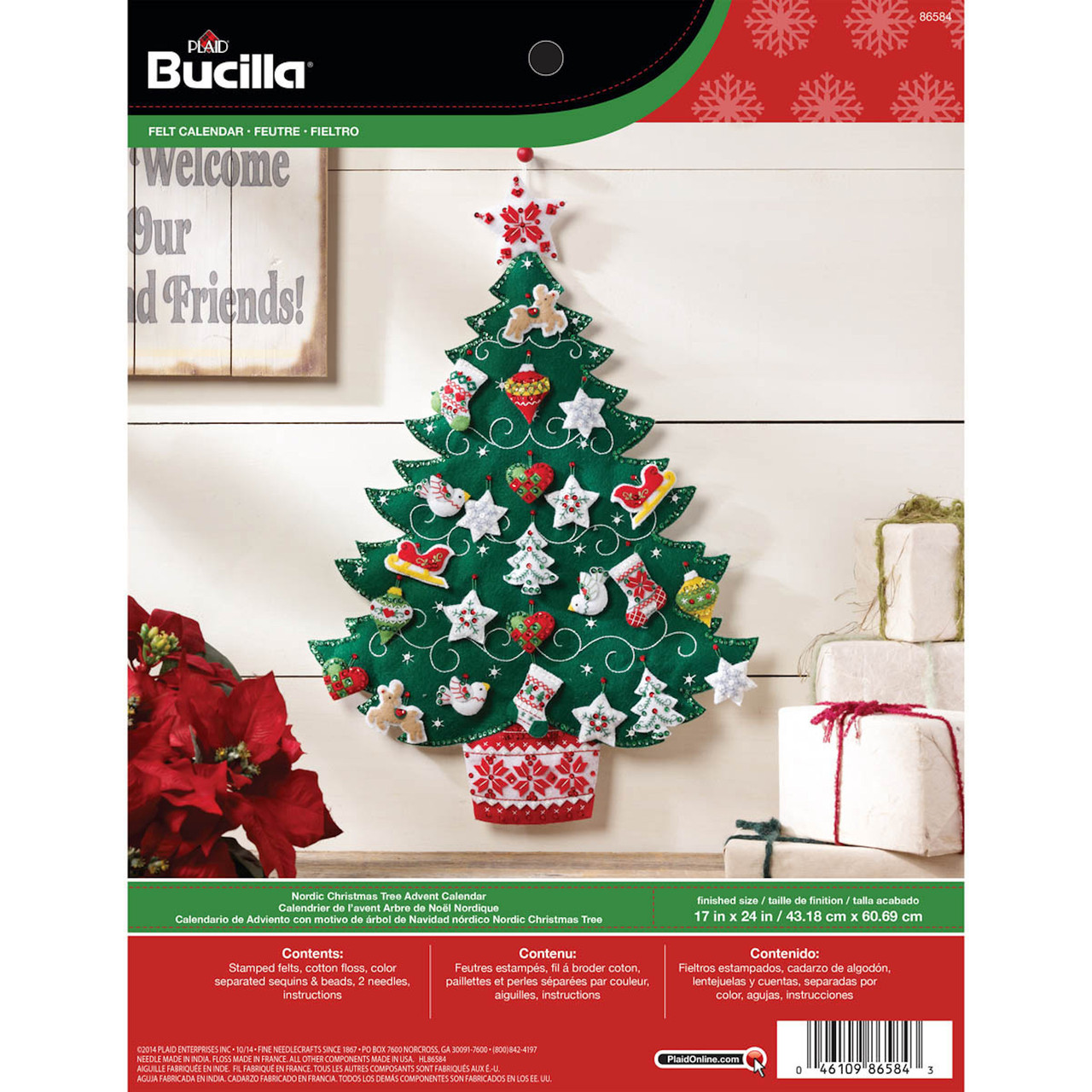 Plaid / Bucilla -  Nordic Christmas Tree Advent Calendar Wall Hanging