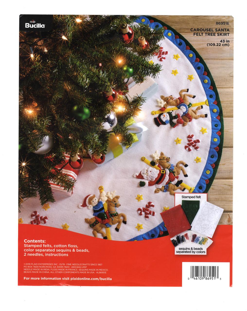 Plaid Bucilla Carousel Santa Tree Skirt Crossstitchworld