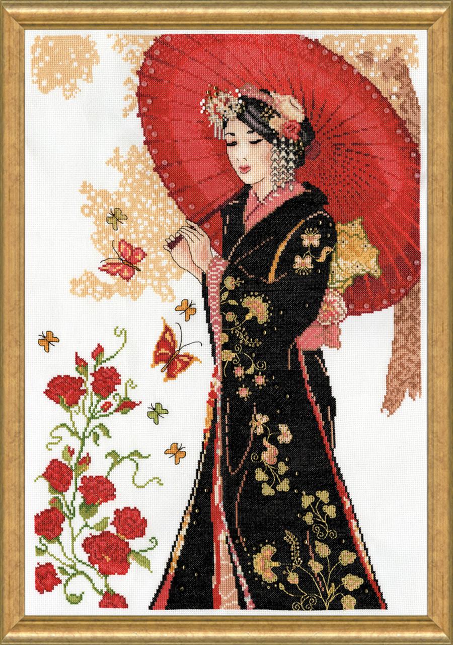 Design Works - Elegant Geisha with Red Parasol
