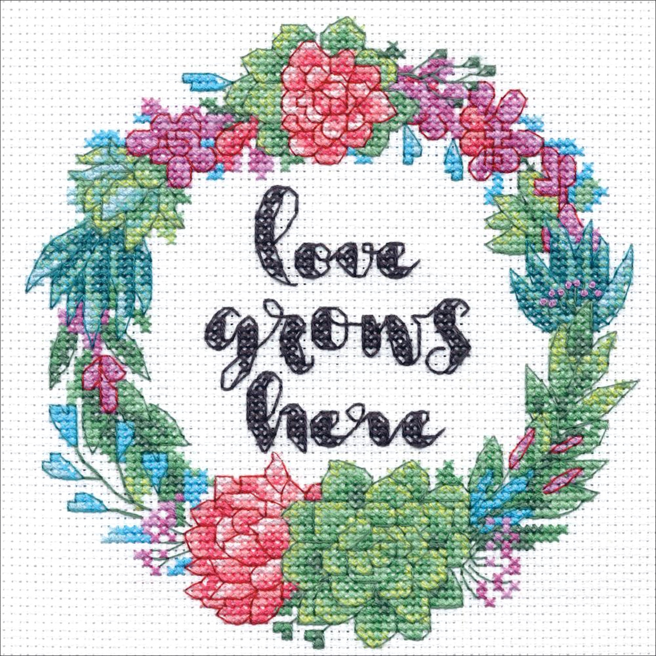 Dimensions Mini Kit Succulent Wreath Crossstitchworld