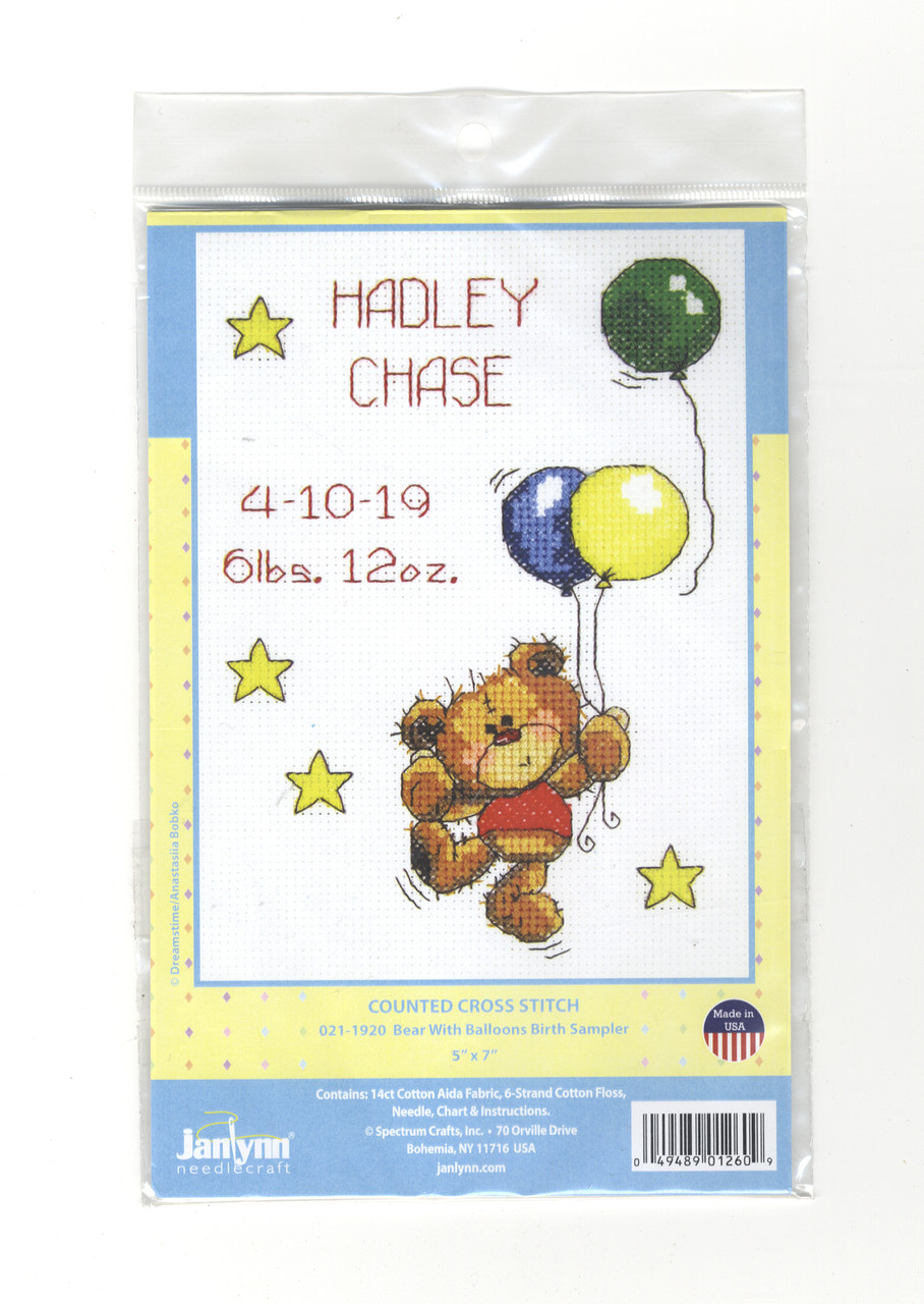 Janlynn - Bear With Balloons Birth Sampler