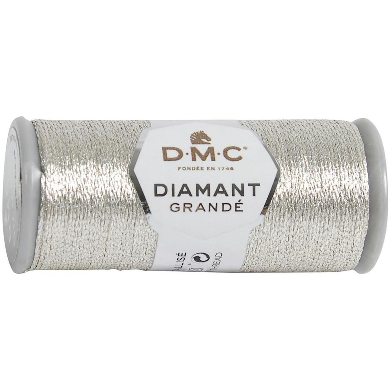 DMC - 21.8 Yard Spool of Light Silver Diamant Grande Metallic Thread #G168
