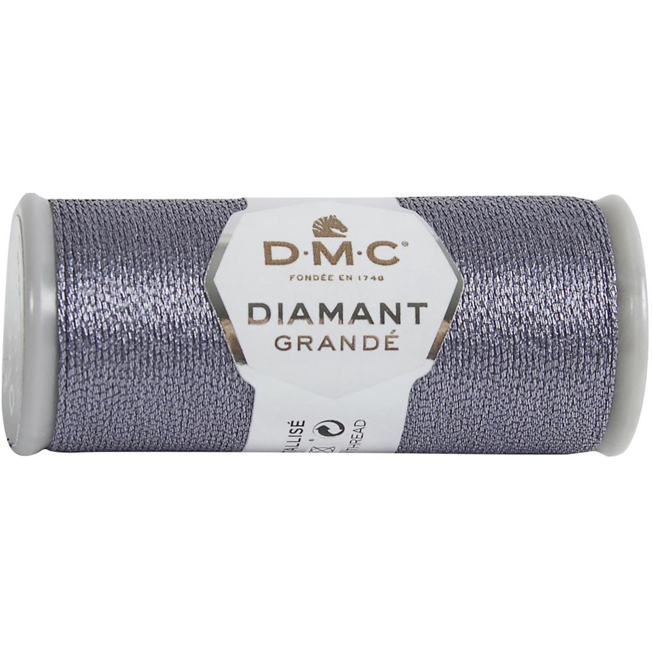 DMC - 21.8 Yard Spool of Anthracite Grey Diamant Grande Metallic Thread #G317
