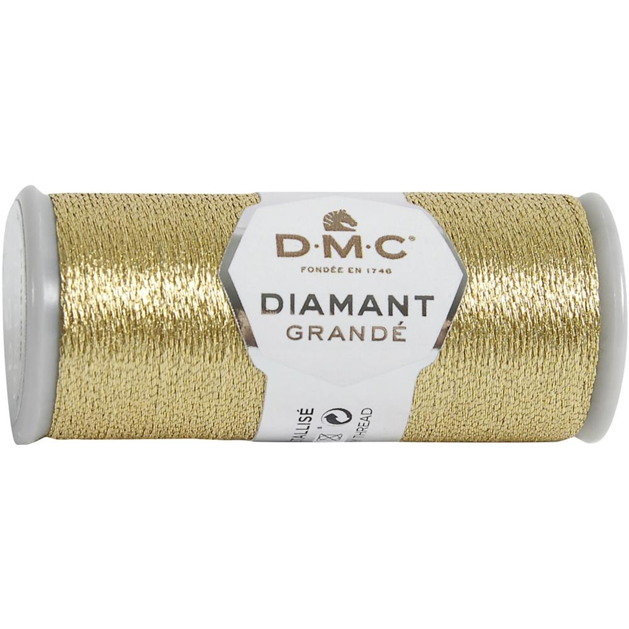 DMC - 21.8 Yard Spool of Light Gold Diamant Grande Metallic Thread #G3821