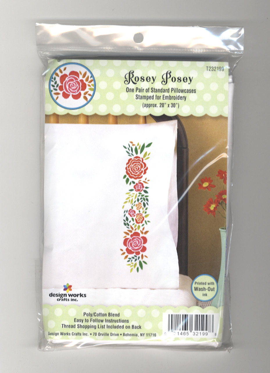 Design Works - Rosey Posey Pillowcase Pair