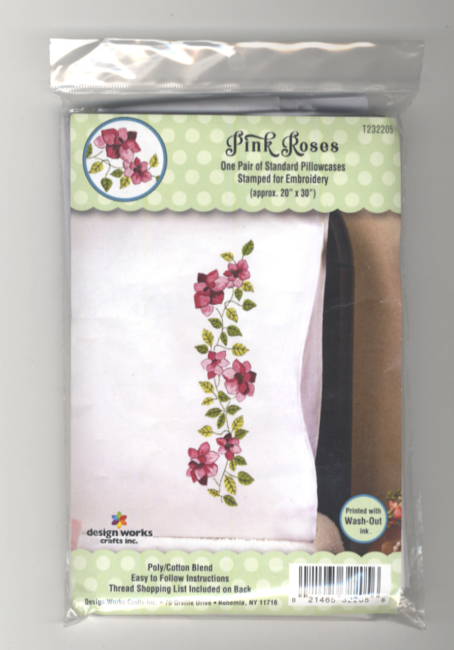 Design Works - Pink Roses Pillowcase Pair