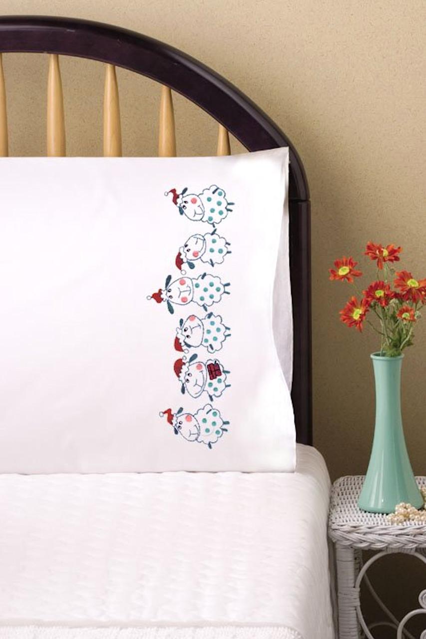 Design Works -  Christmas Sheep Pillowcase Pair