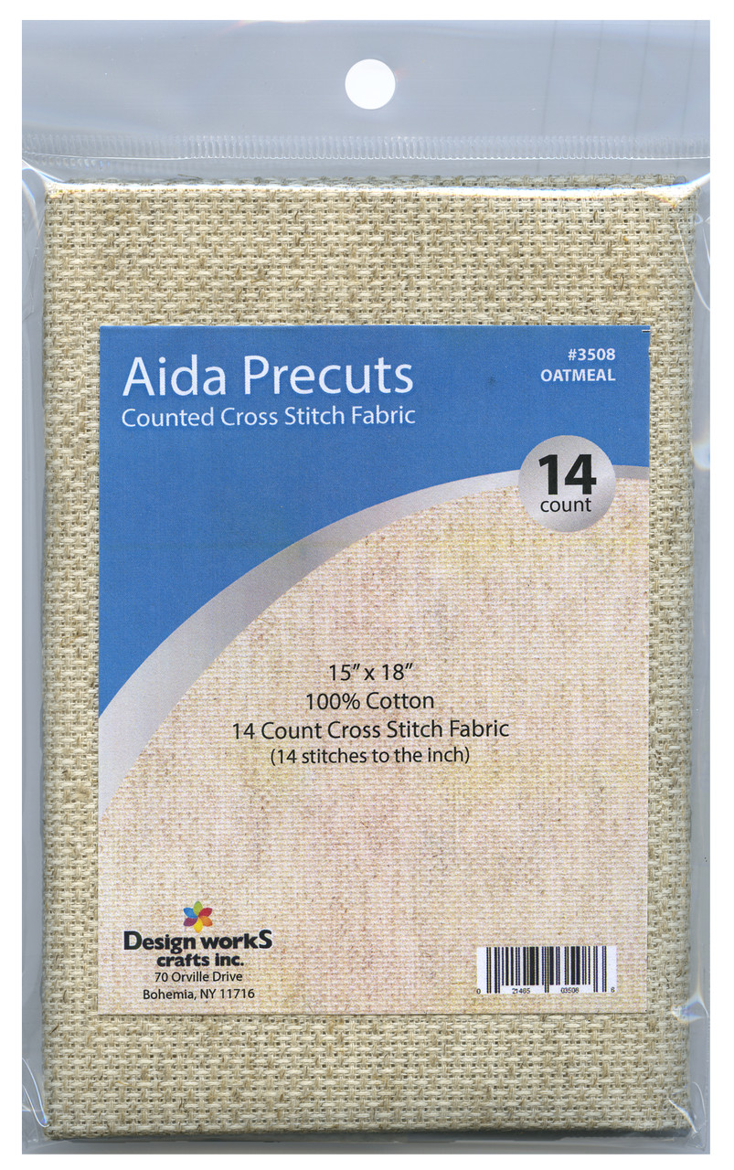"""Design Works - Gold Quality Oatmeal 14 Count Aida Fabric 15"""" x 18"""""""
