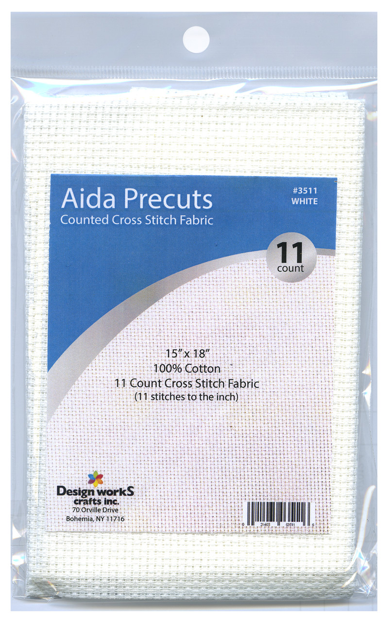 """Design Works - Gold Quality White 11 Count Aida Fabric 15"""" x 18"""""""