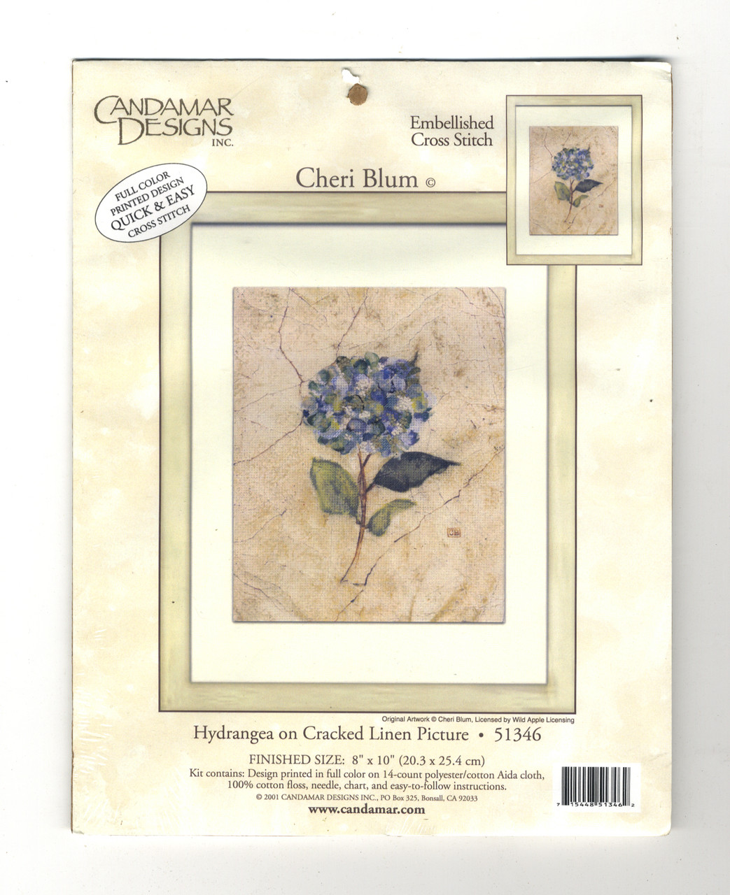 Candamar - Hydrangea on Cracked Linen
