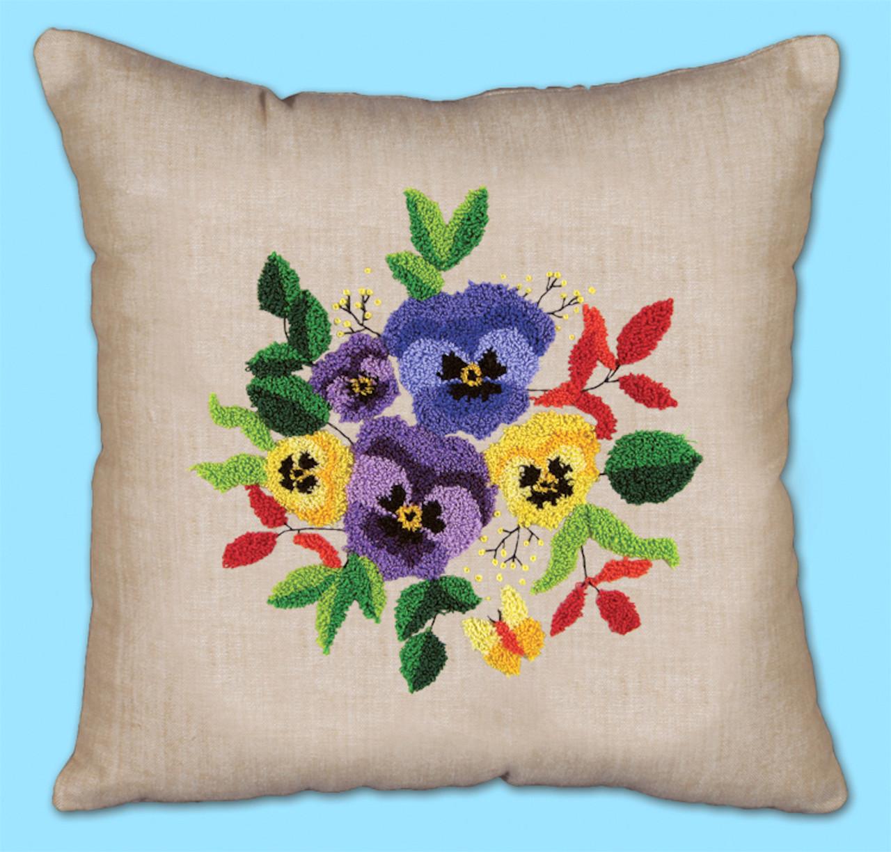 Punch Needle Pillow Kit - Pansies