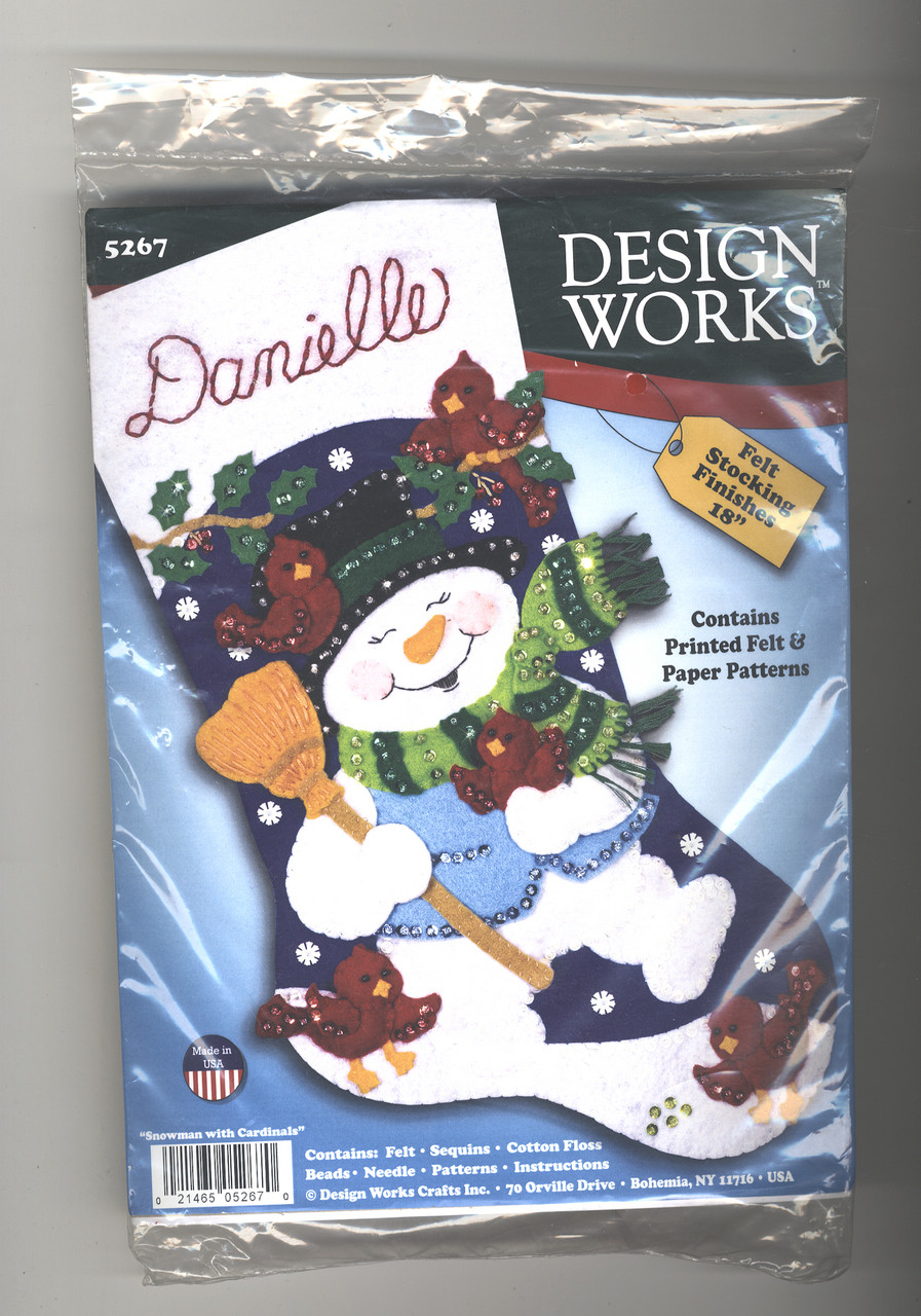 Design Works - Snowman with Cardinals Felt Stocking