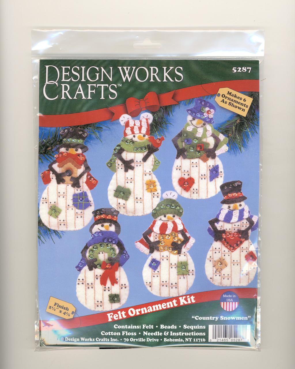 Design Works - Country Snowman Felt Ornaments (6)