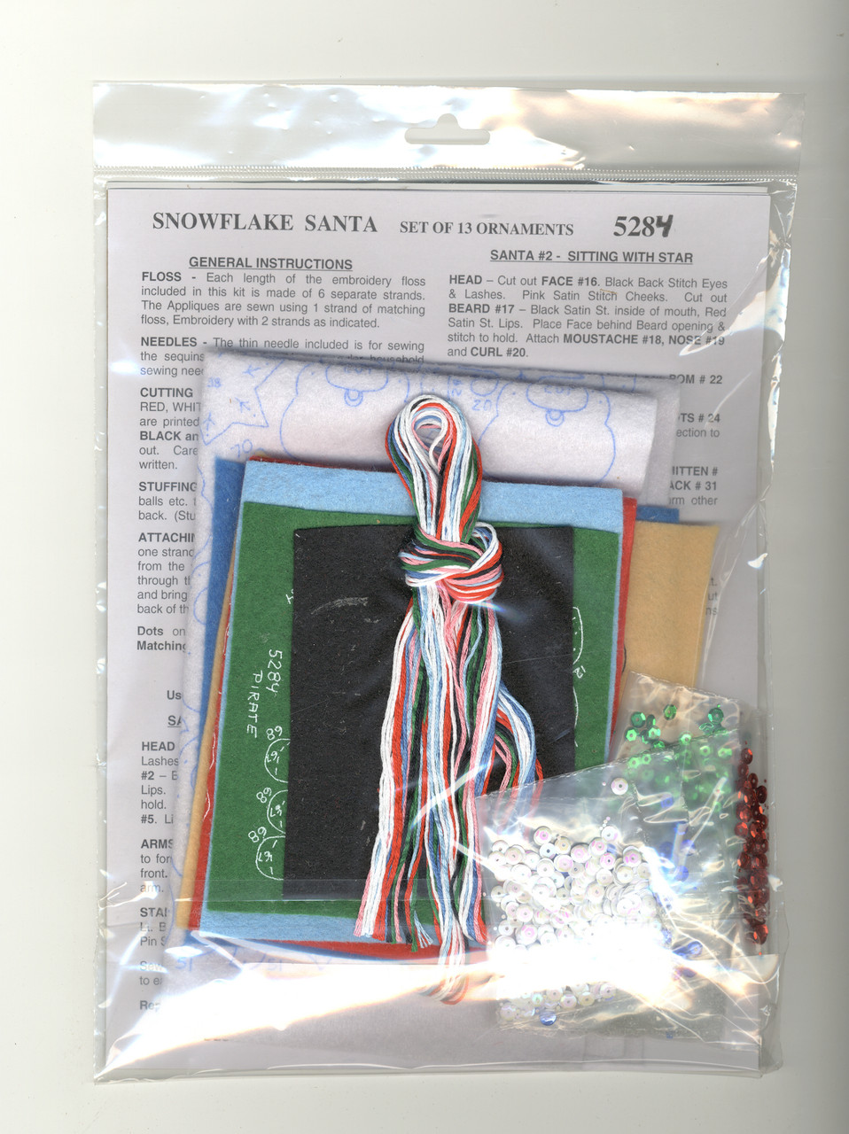 Design Works - Snowflake Santa Felt Ornaments (13)