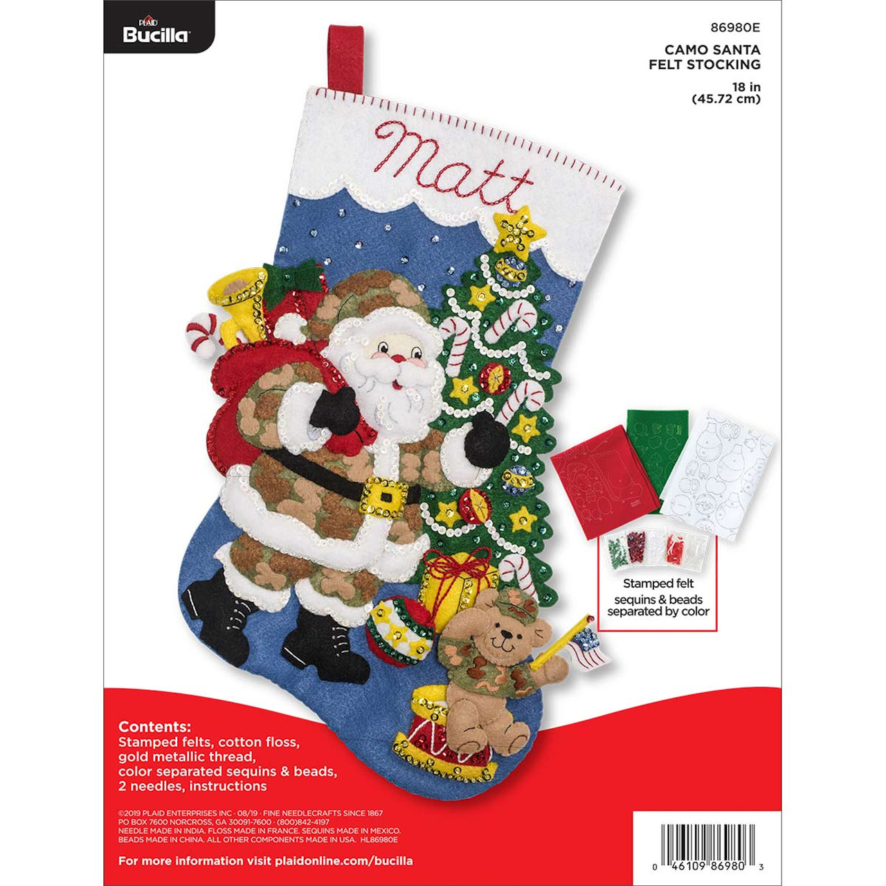 Plaid / Bucilla -  Camo Santa Stocking