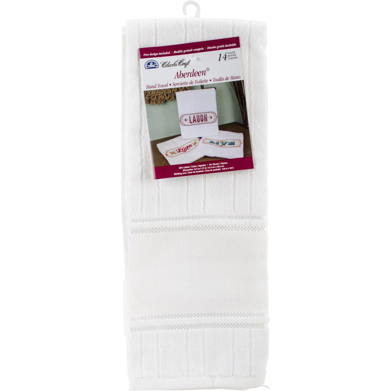 DMC Aberdeen Velour White Hand Towel with 14 Count Aida Border