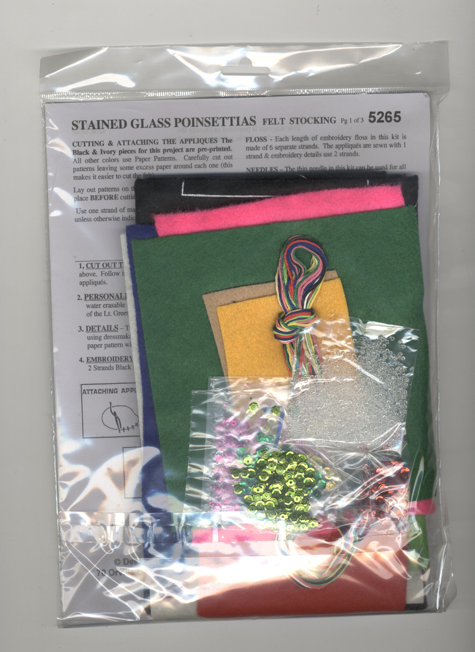 Design Works -  Stained Glass Poinsettia Stocking