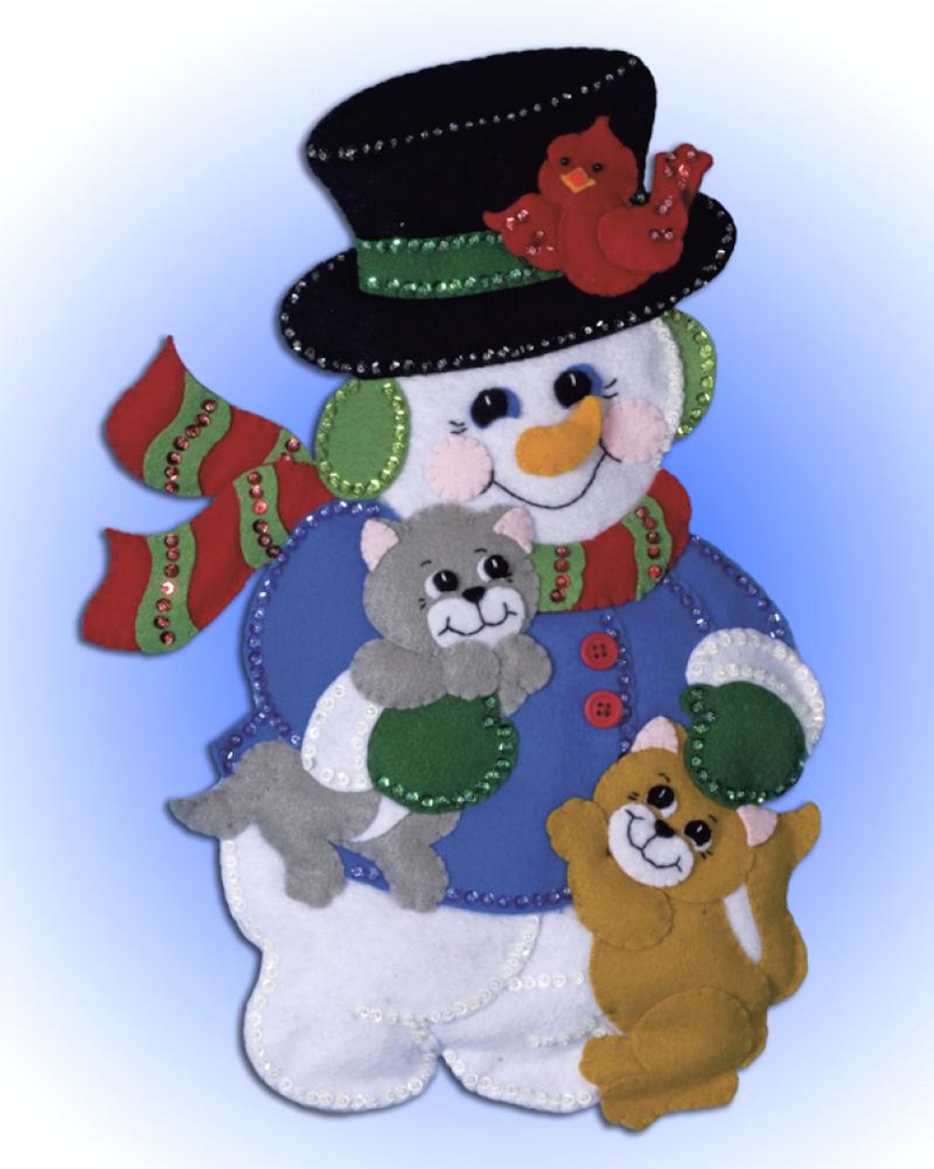 Design Works - Snowman with Kittens Christmas Wall Hanging