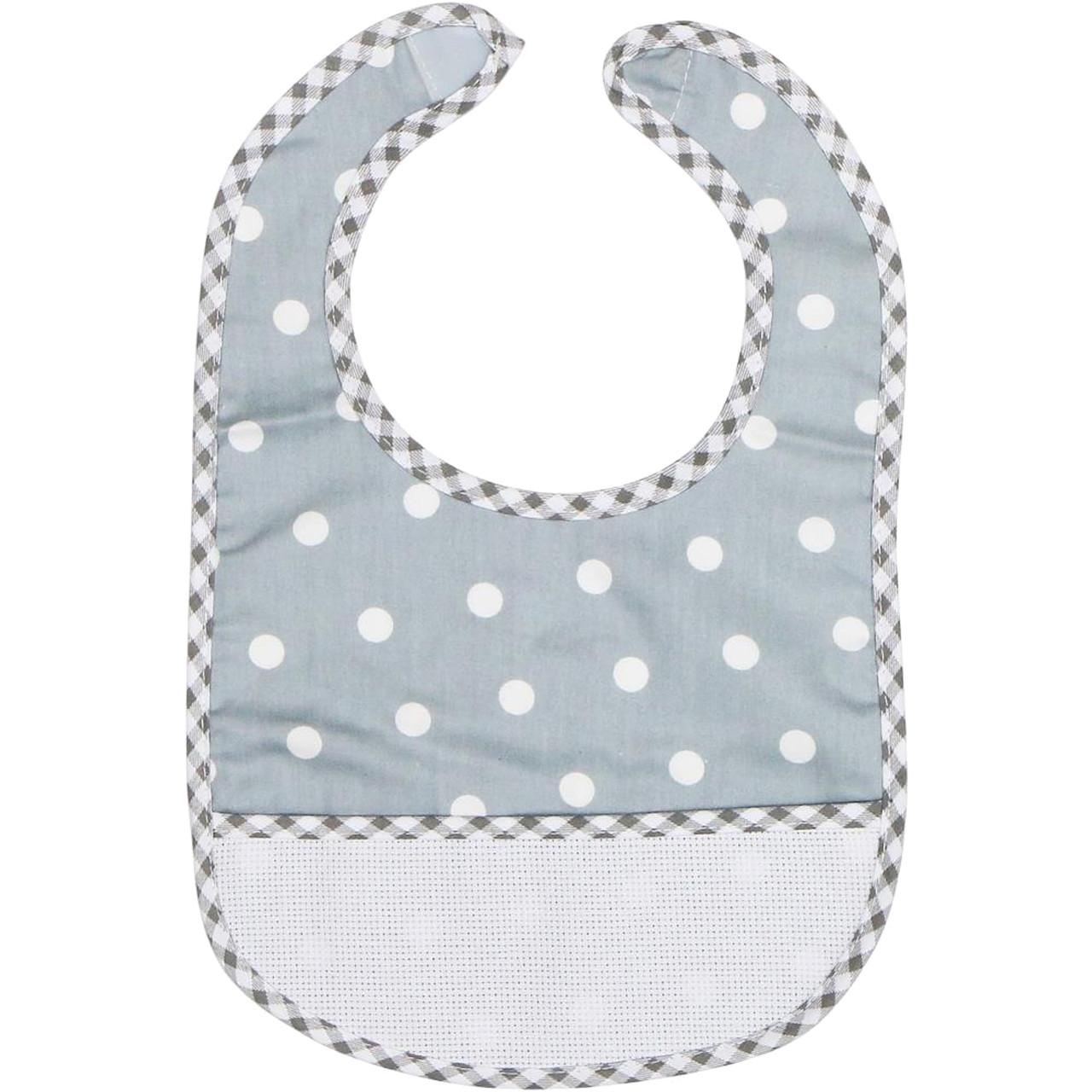 DMC Stitchable 14 count Grey Polka Dots Baby Bib