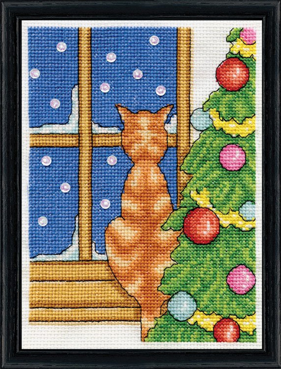 Design Works -  Christmas Cat on Windowsill