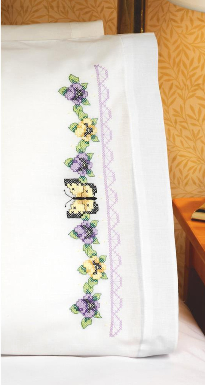 Janlynn - Pansy and Butterfly Pillowcases