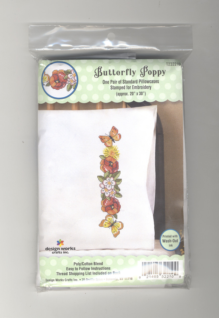 Design Works -  Butterfly Poppy Pillowcases