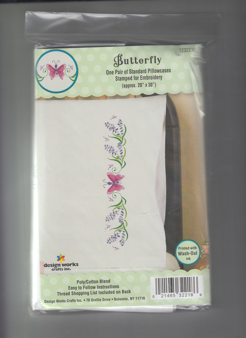 Design Works -  Pink Butterfly Pillowcases