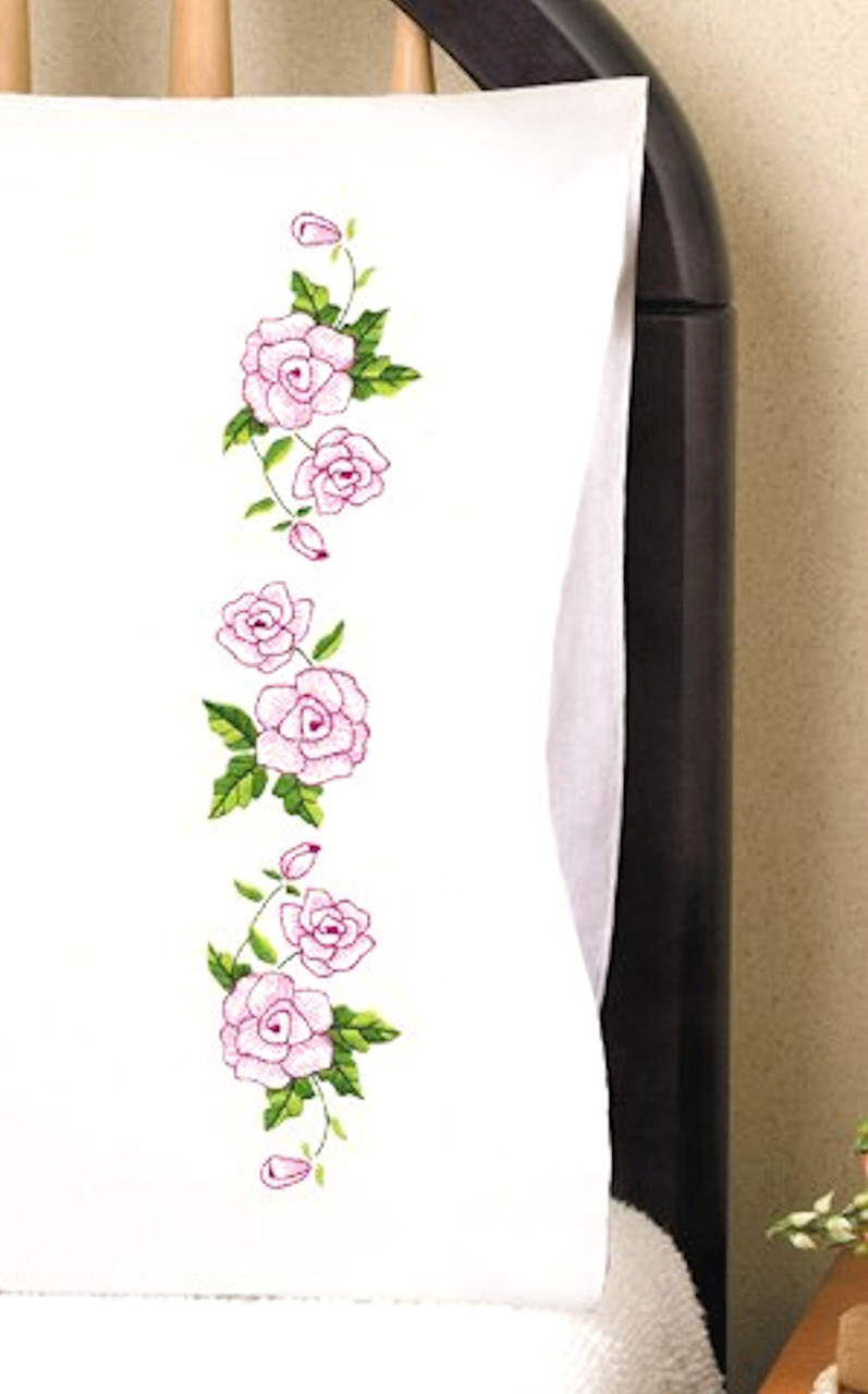 Design Works -  Pink Roses Pillowcases