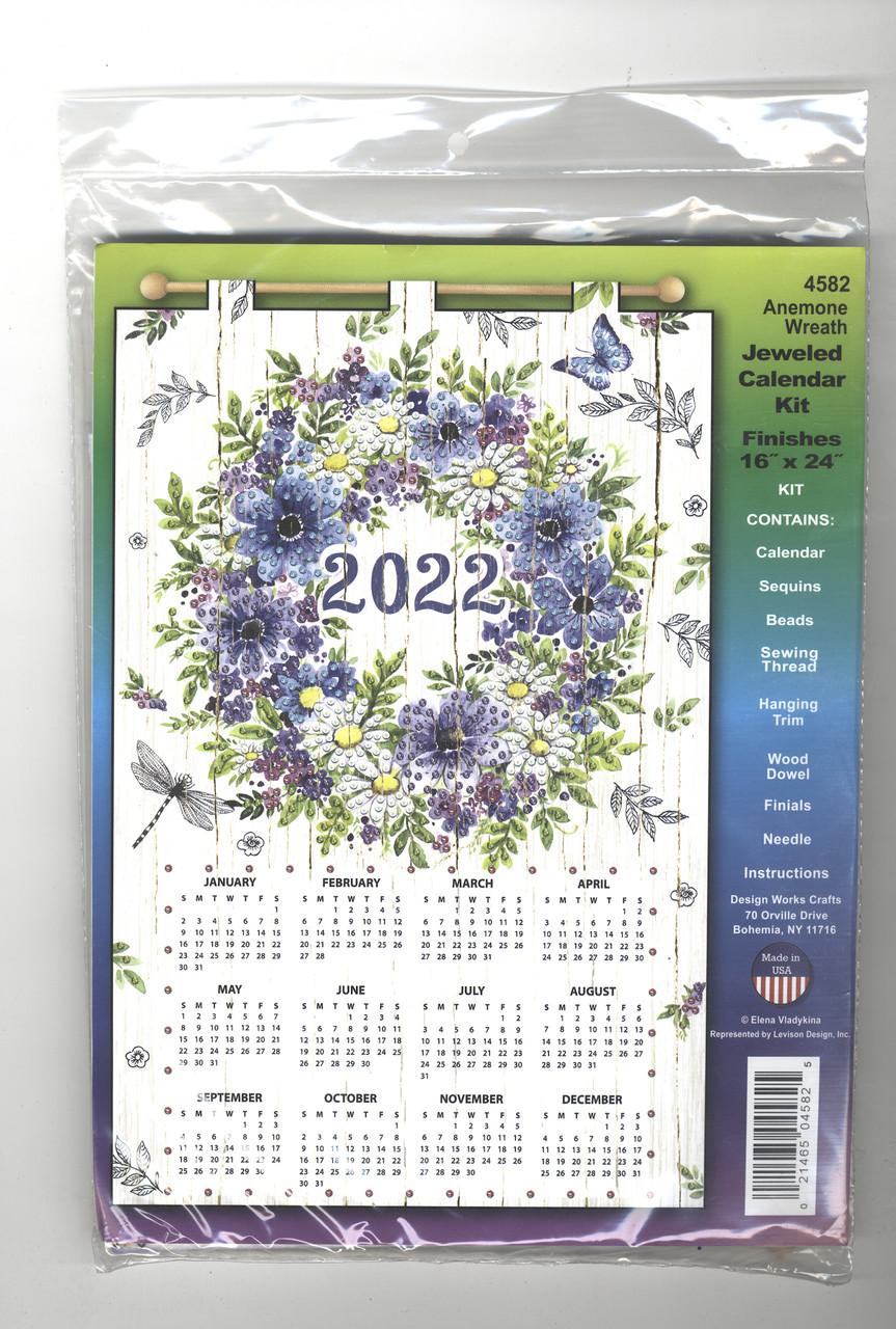 Design Works - Anemone Wreath 2022 Jeweled Calendar Kit