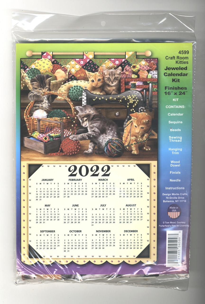 Design Works - Craft Room Kitties 2022 Jeweled Calendar Kit