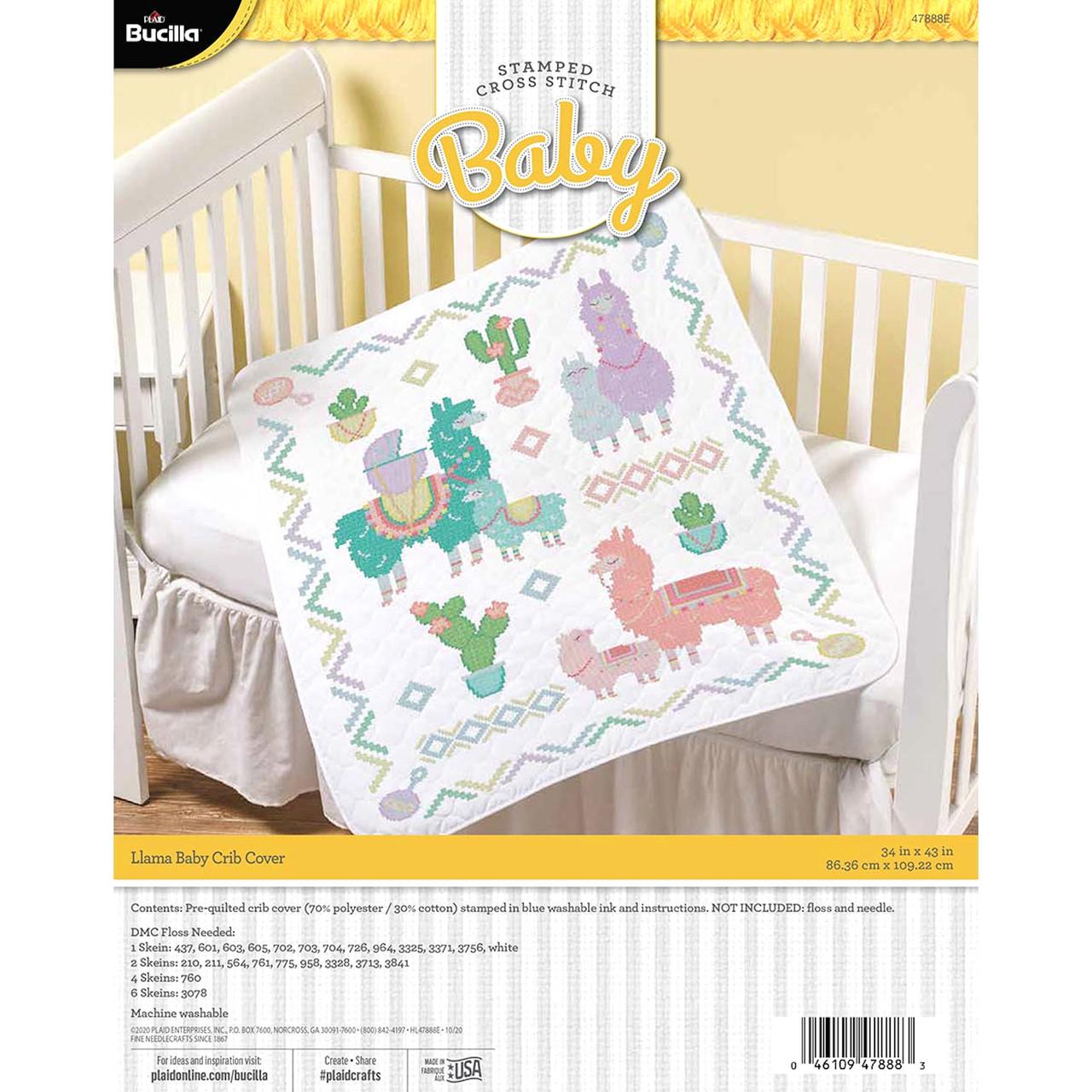 Plaid / Bucilla - Llama Baby Crib Cover