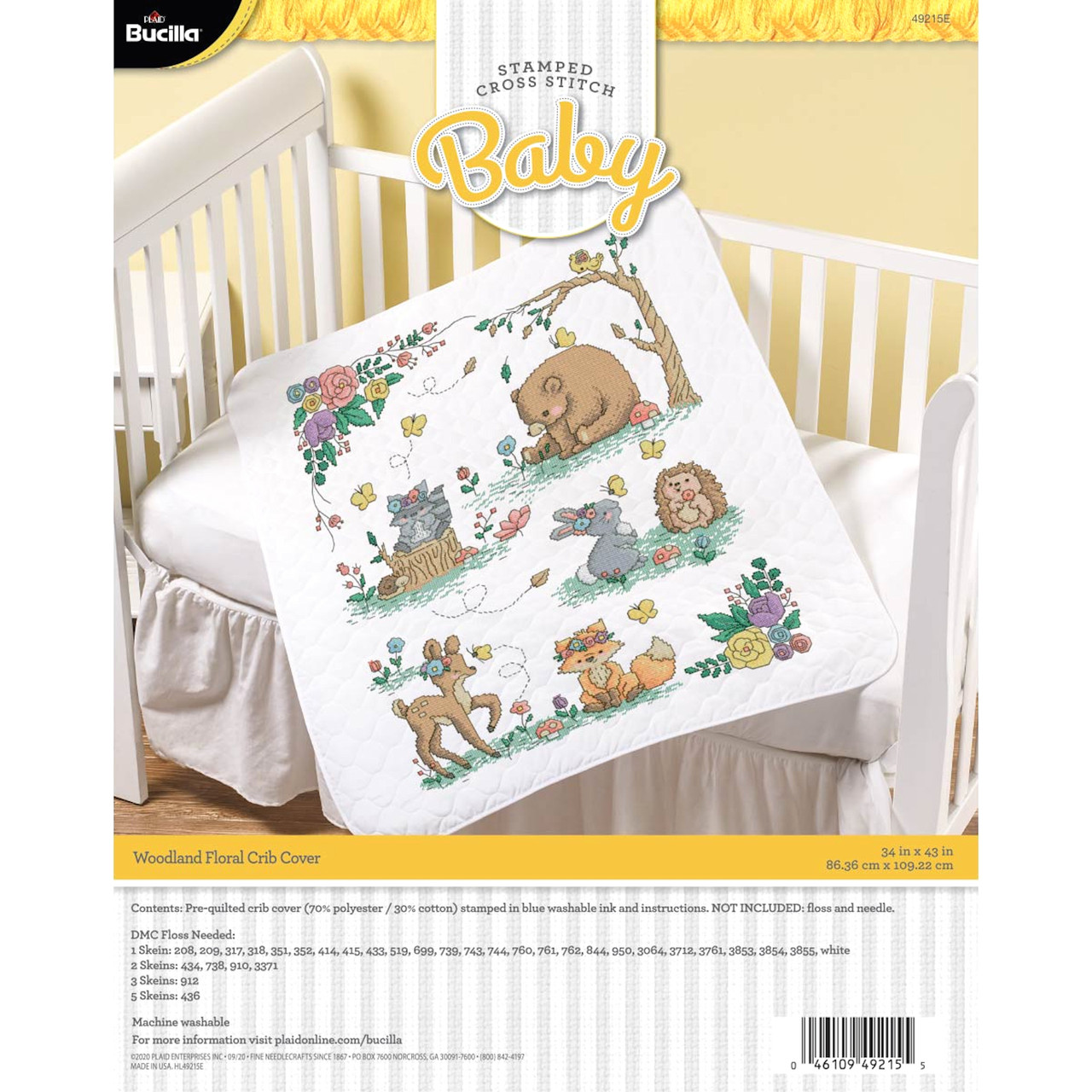 Plaid / Bucilla - Woodland Floral Crib Cover
