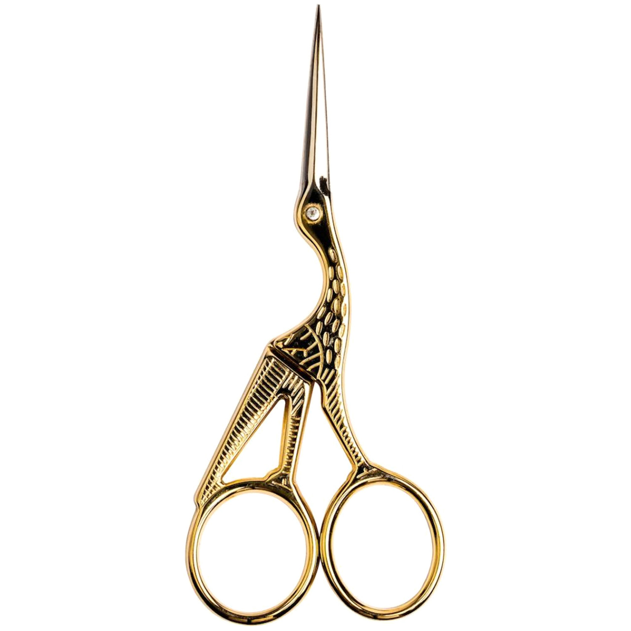 """Singer - Forged Stork Embroidery Gold Plated Scissors 4.5"""""""
