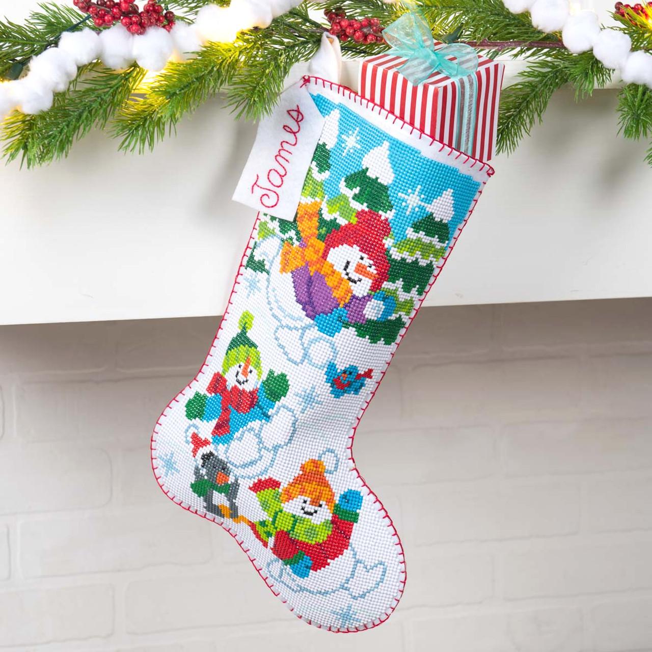 Plaid / Bucilla Gem Dots - Sledding Snowman Christmas Stocking