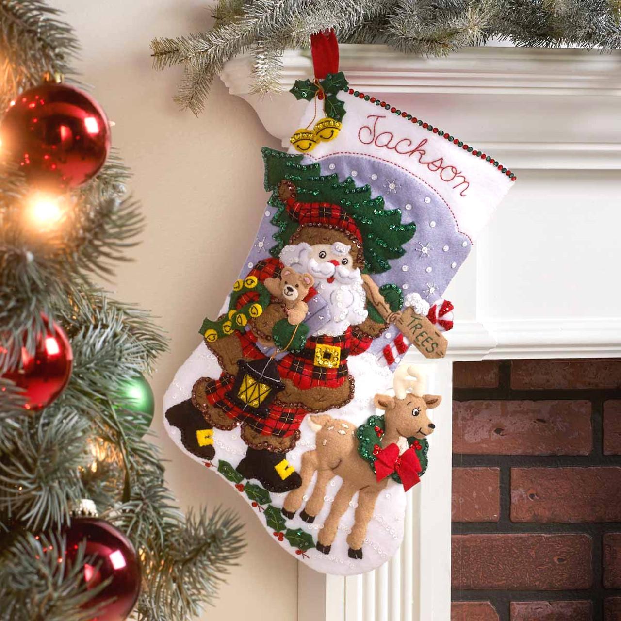 Plaid / Bucilla - Lumberjack Santa Christmas Stocking