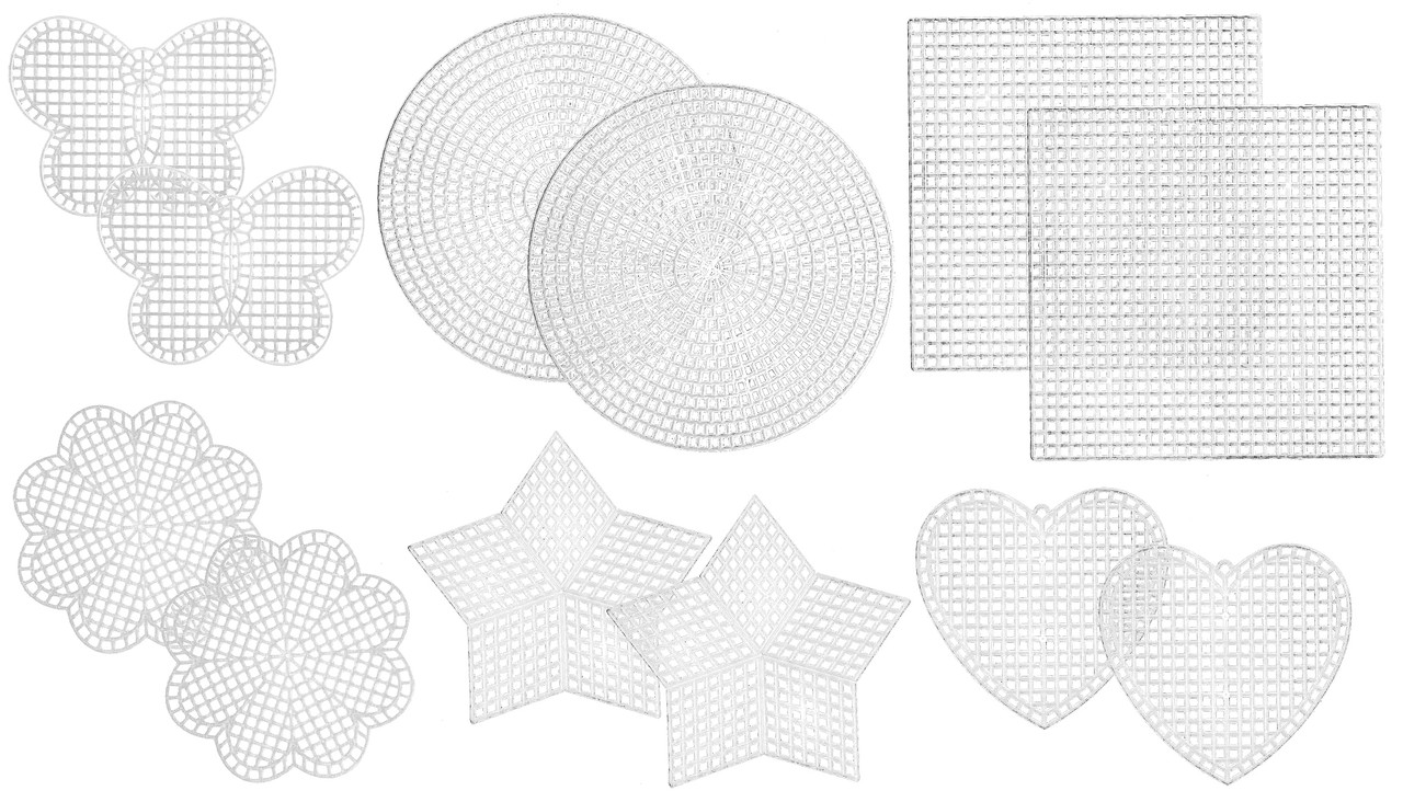 Janlynn - Clear Plastic Canvas 7 Count Shapes Variety Pack (12 pcs)