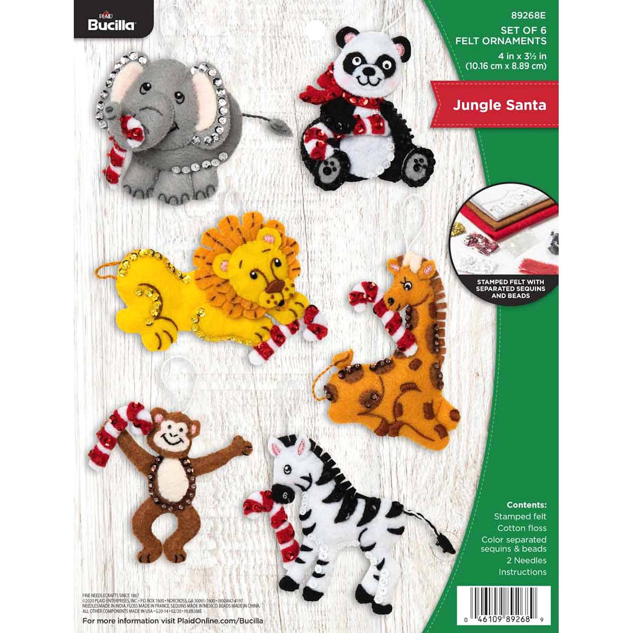 Plaid / Bucilla -  Jungle Santa Christmas Ornaments