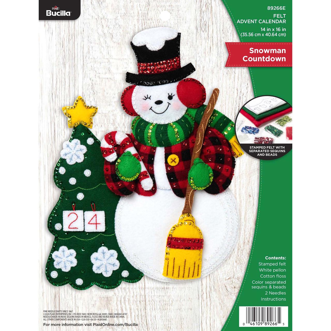 Plaid / Bucilla -  Snowman Countdown Advent Calendar Wall Hanging